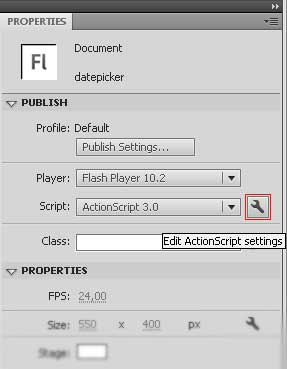 Edit ActionScript settings