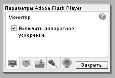 Параметры Flash Player. Монитор.