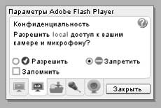 Параметры Flash Player. Доступ к камере и микрофону.